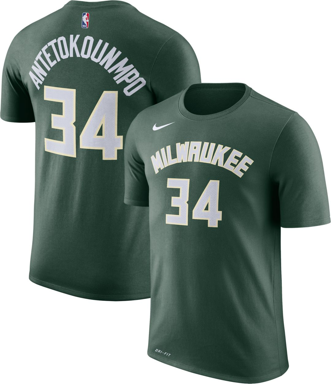 huge selection of 74c6a 85eef Nike Youth Milwaukee Bucks Giannis Antetokounmpo #34 Dri-FIT Green T-Shirt