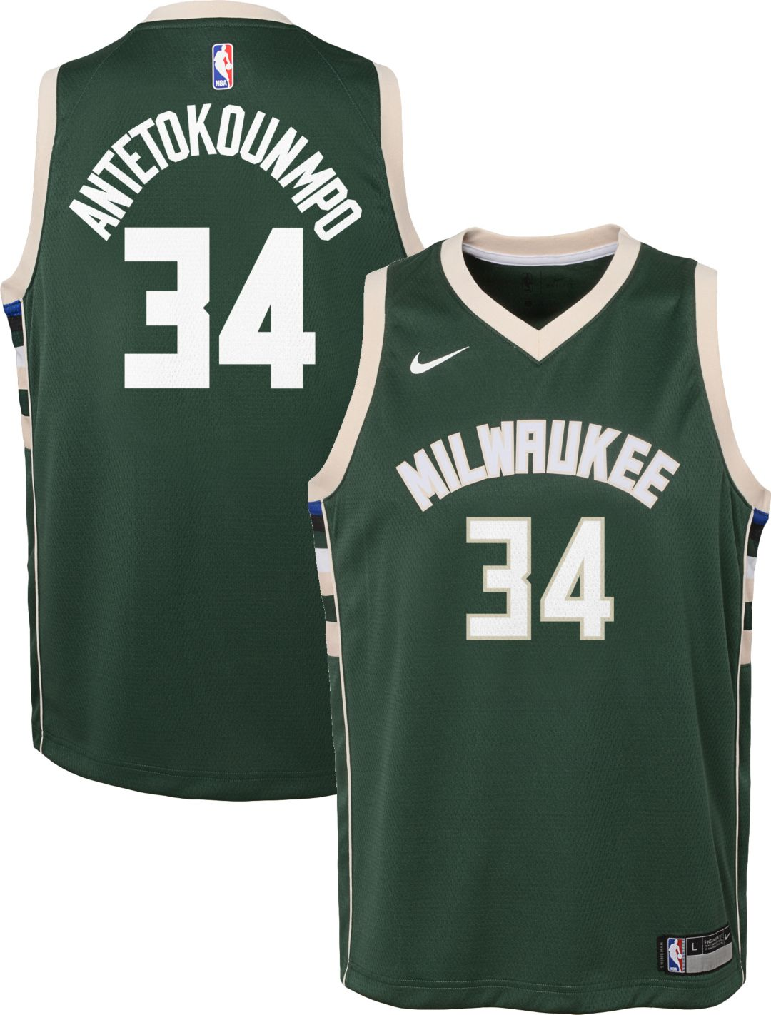 04240f3a1a5 Nike Youth Milwaukee Bucks Giannis Antetokounmpo #34 Green Dri-FIT Swingman  Jersey 1