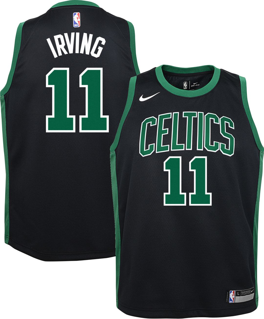 145c8405b4f Nike Youth Boston Celtics Kyrie Irving #11 Black Dri-FIT Swingman Jersey 1
