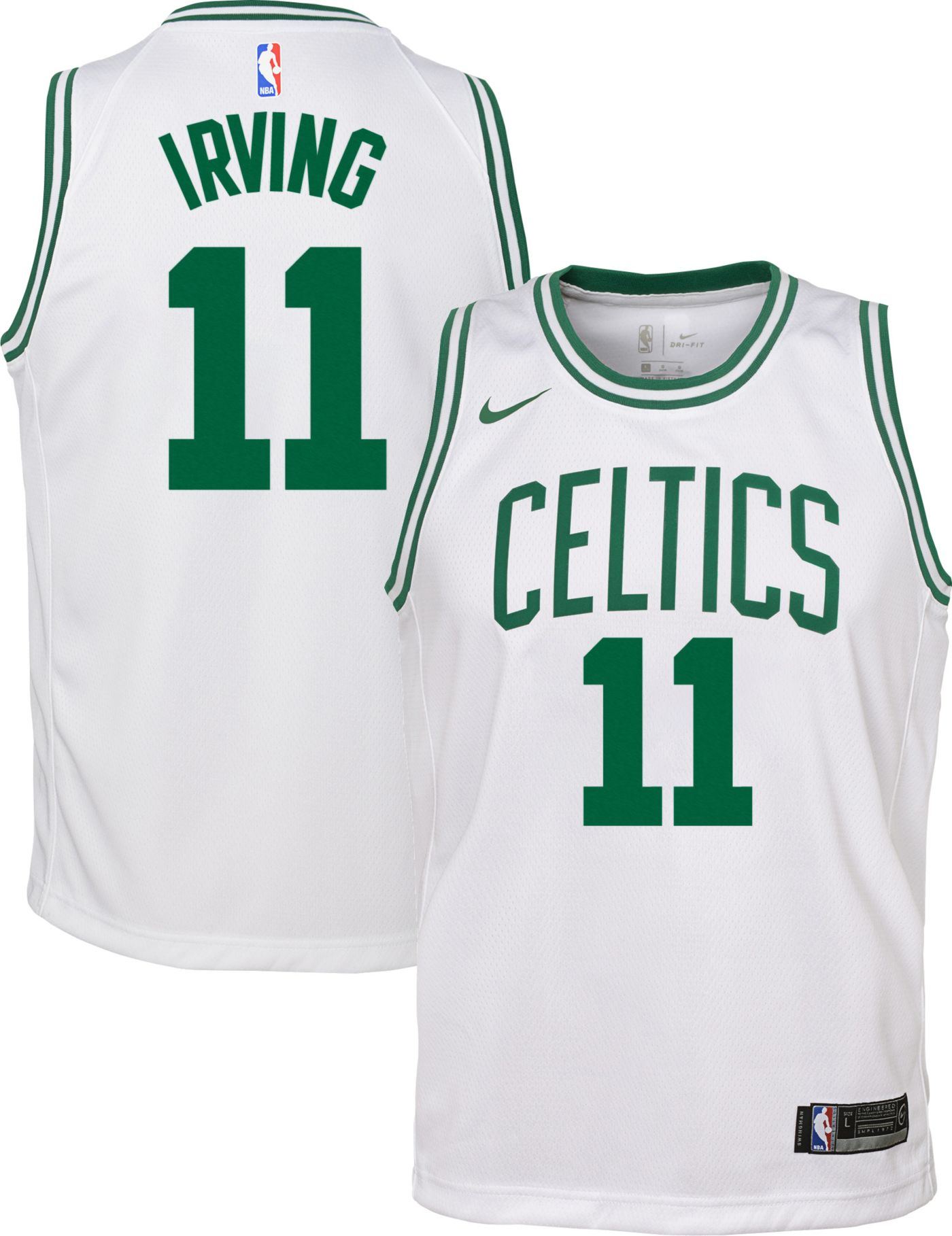 Nike Youth Boston Celtics Kyrie Irving #11 White Dri-FIT Swingman Jersey