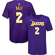 Nike Youth Los Angeles Lakers Lonzo Ball #2 Dri-FIT Purple T-Shirt