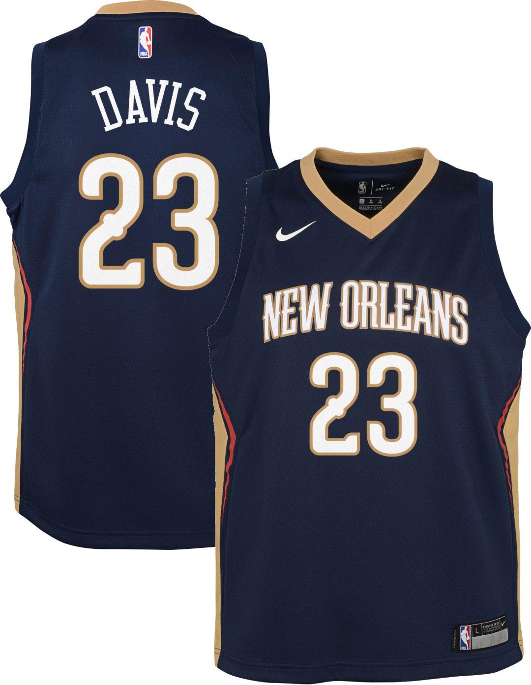 012294c8182 Nike Youth New Orleans Pelicans Anthony Davis #23 Navy Dri-FIT Swingman  Jersey 1