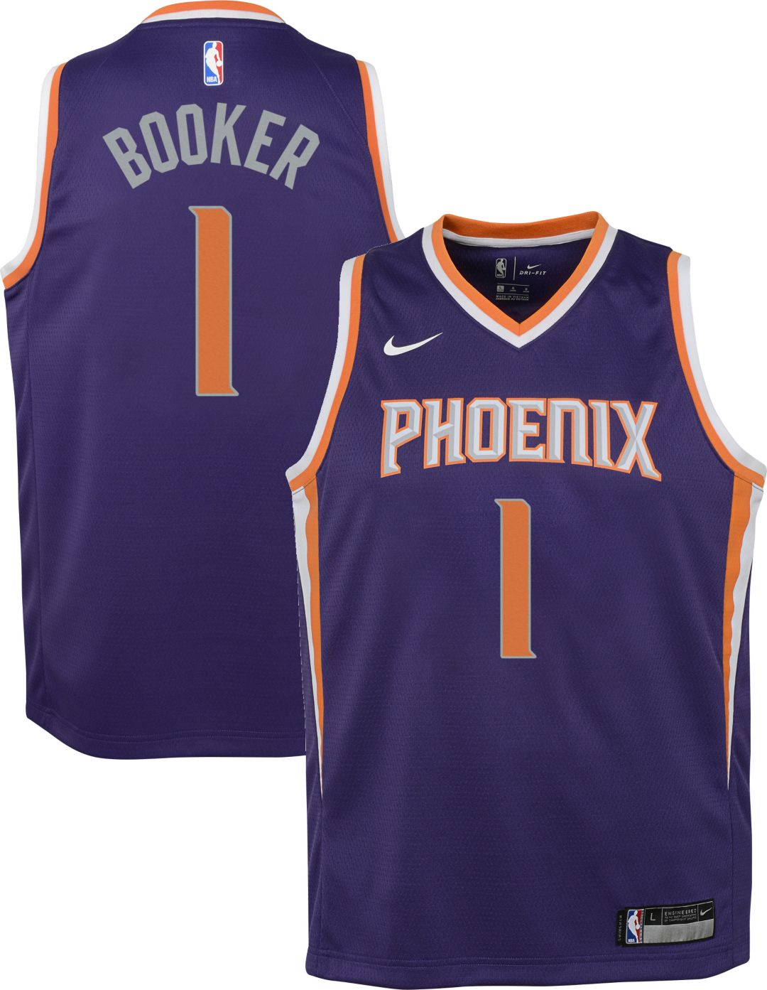 buy popular 7b81e dba73 Nike Youth Phoenix Suns Devin Booker #1 Purple Dri-FIT Swingman Jersey