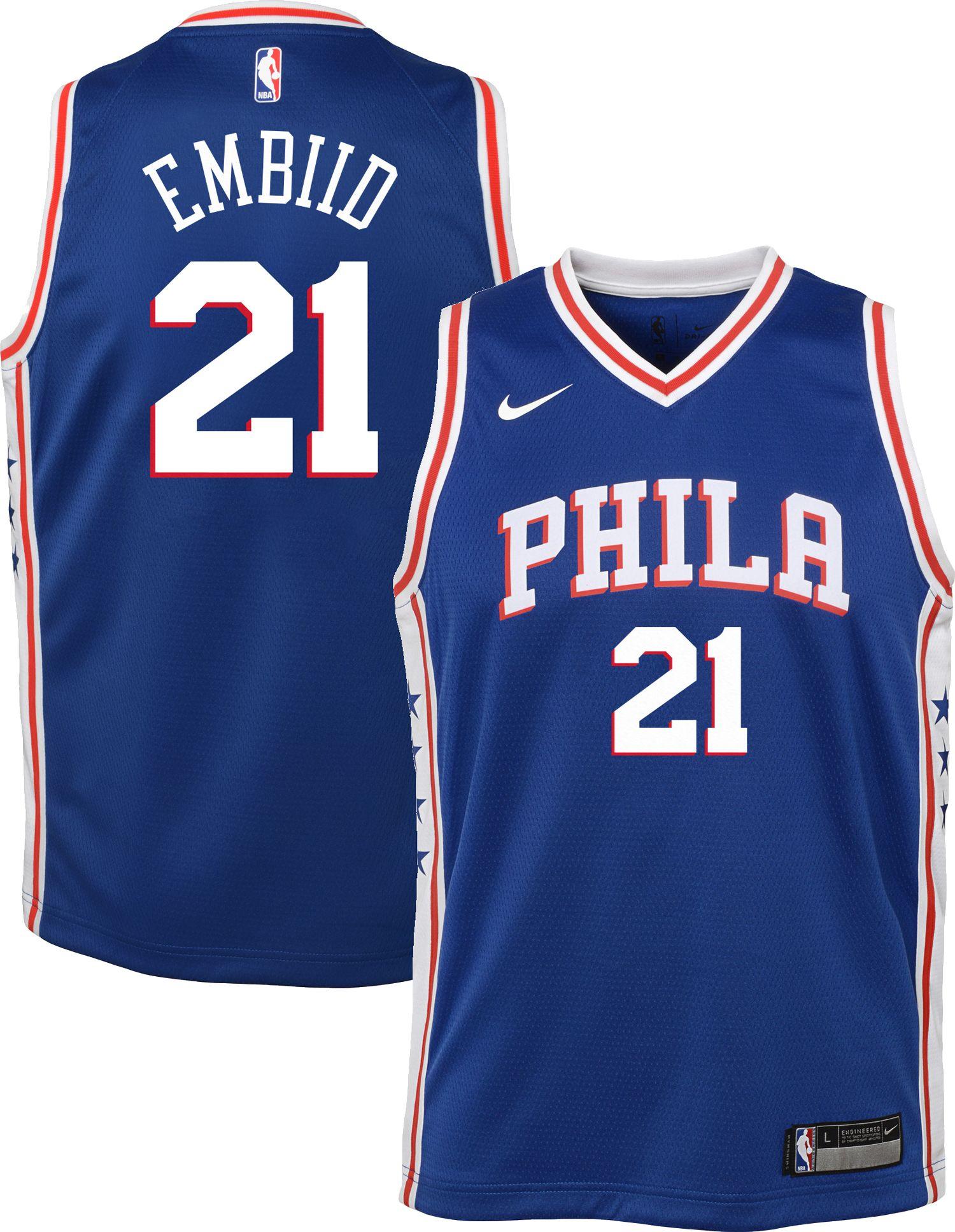 6ca1a9143 ... amazon nike youth philadelphia 76ers joel embiid 21 royal dri fit swingman  jersey b35bf 5452b
