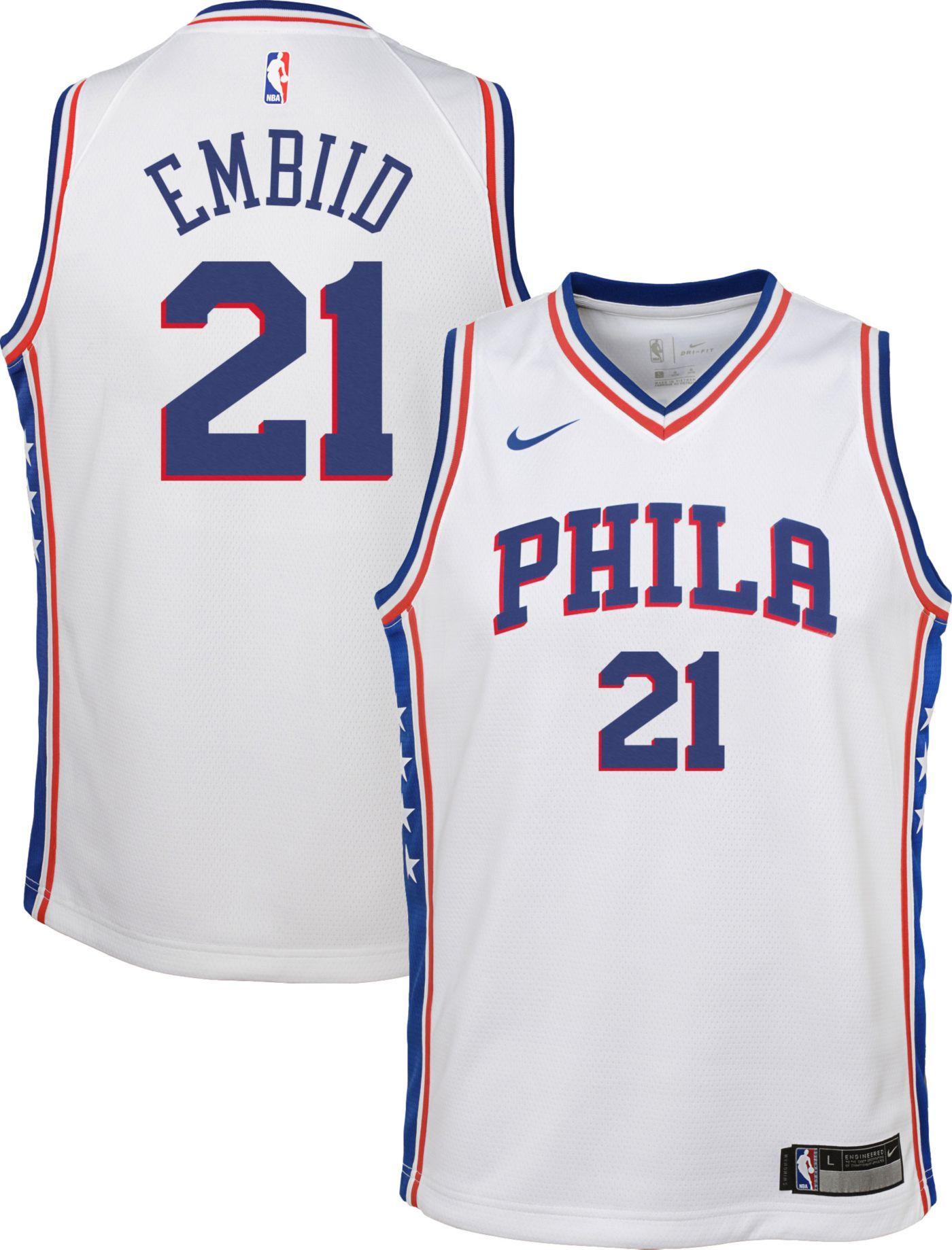 Nike Youth Philadelphia 76ers Joel Embiid #21 White Dri-FIT Swingman Jersey