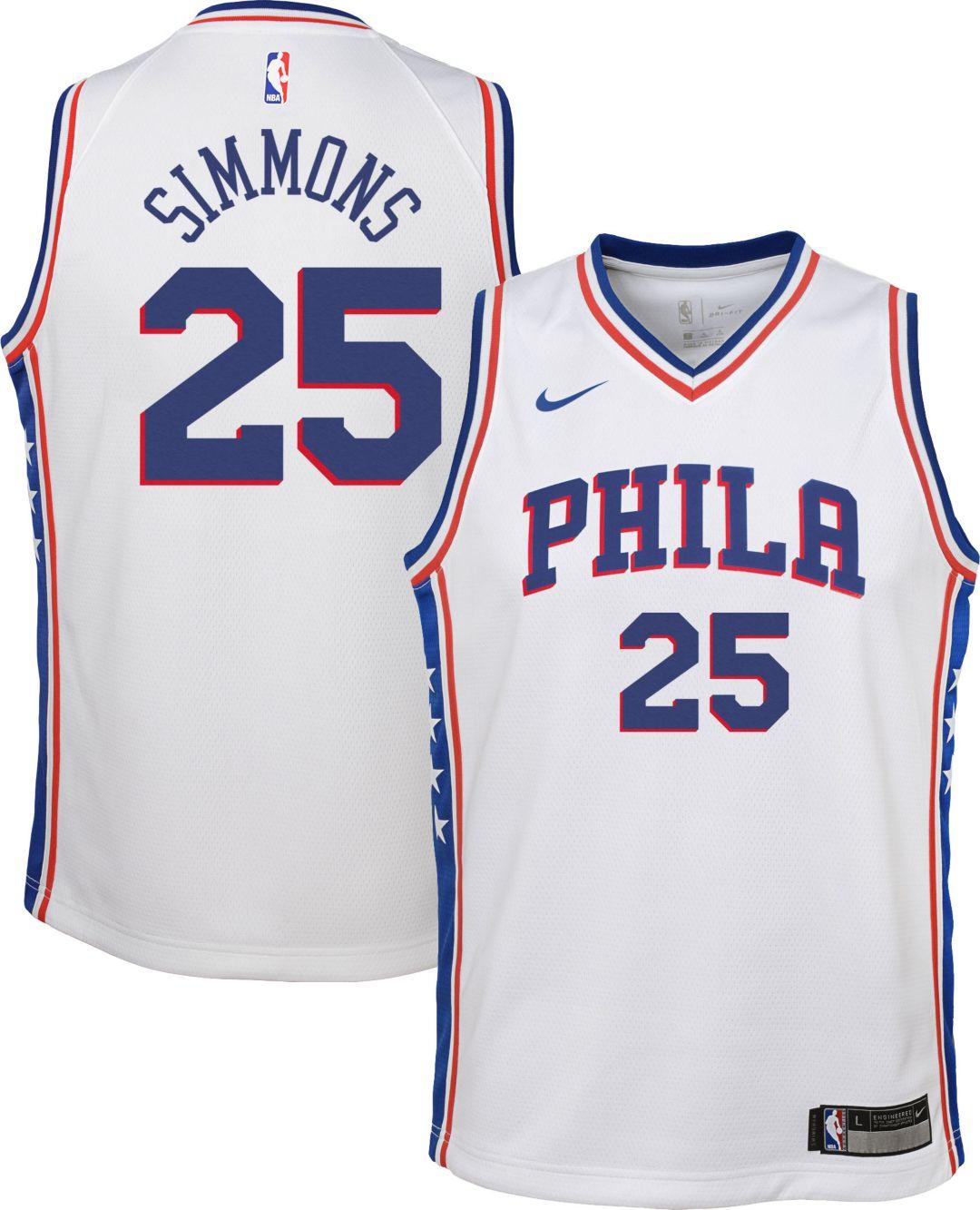 best website d23ef 3f544 Nike Youth Philadelphia 76ers Ben Simmons #25 White Dri-FIT Swingman Jersey