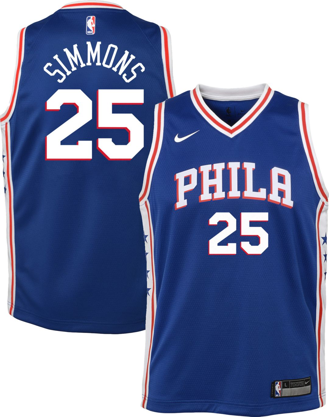 brand new d628a c2bfa Nike Youth Philadelphia 76ers Ben Simmons #25 Royal Dri-FIT Swingman Jersey