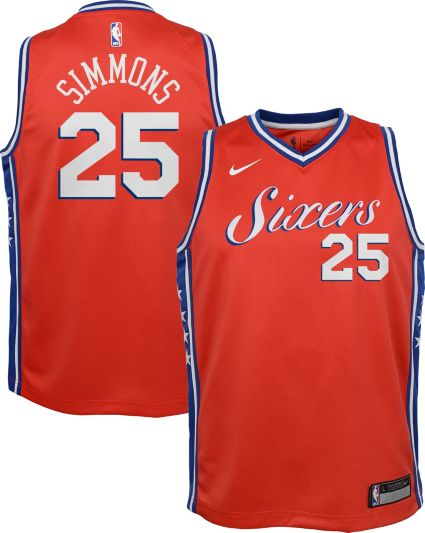 Nike Youth Philadelphia 76ers Ben Simmons  25 Red Statement Dri-FIT  Swingman Jersey e0cb60a1d