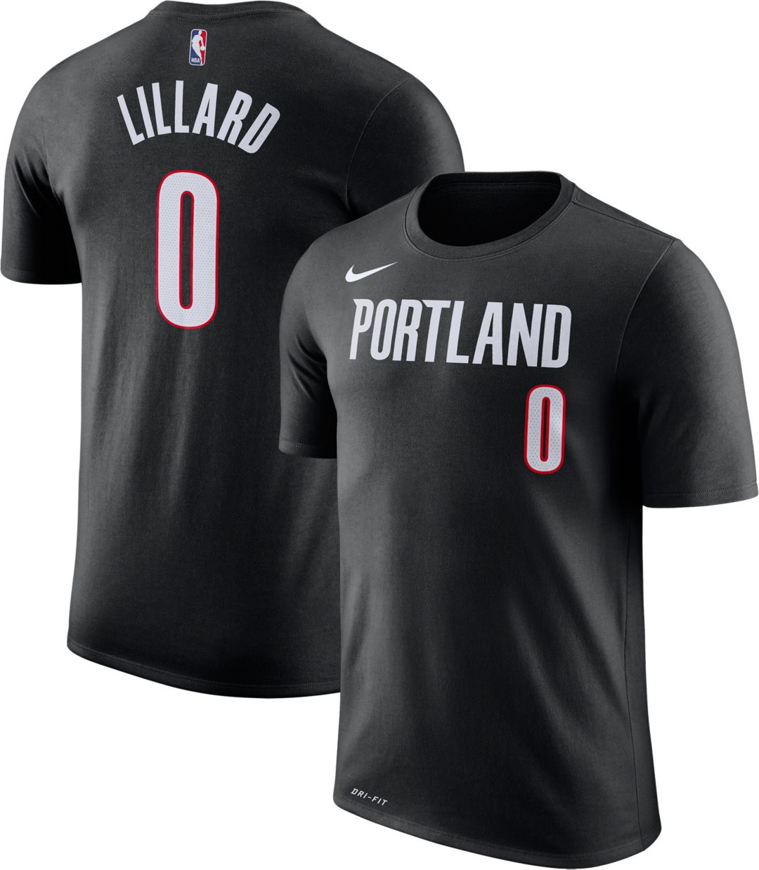 new style 4928f 85615 Nike Youth Portland Trail Blazers Damian Lillard #0 Dri-FIT Black T-Shirt