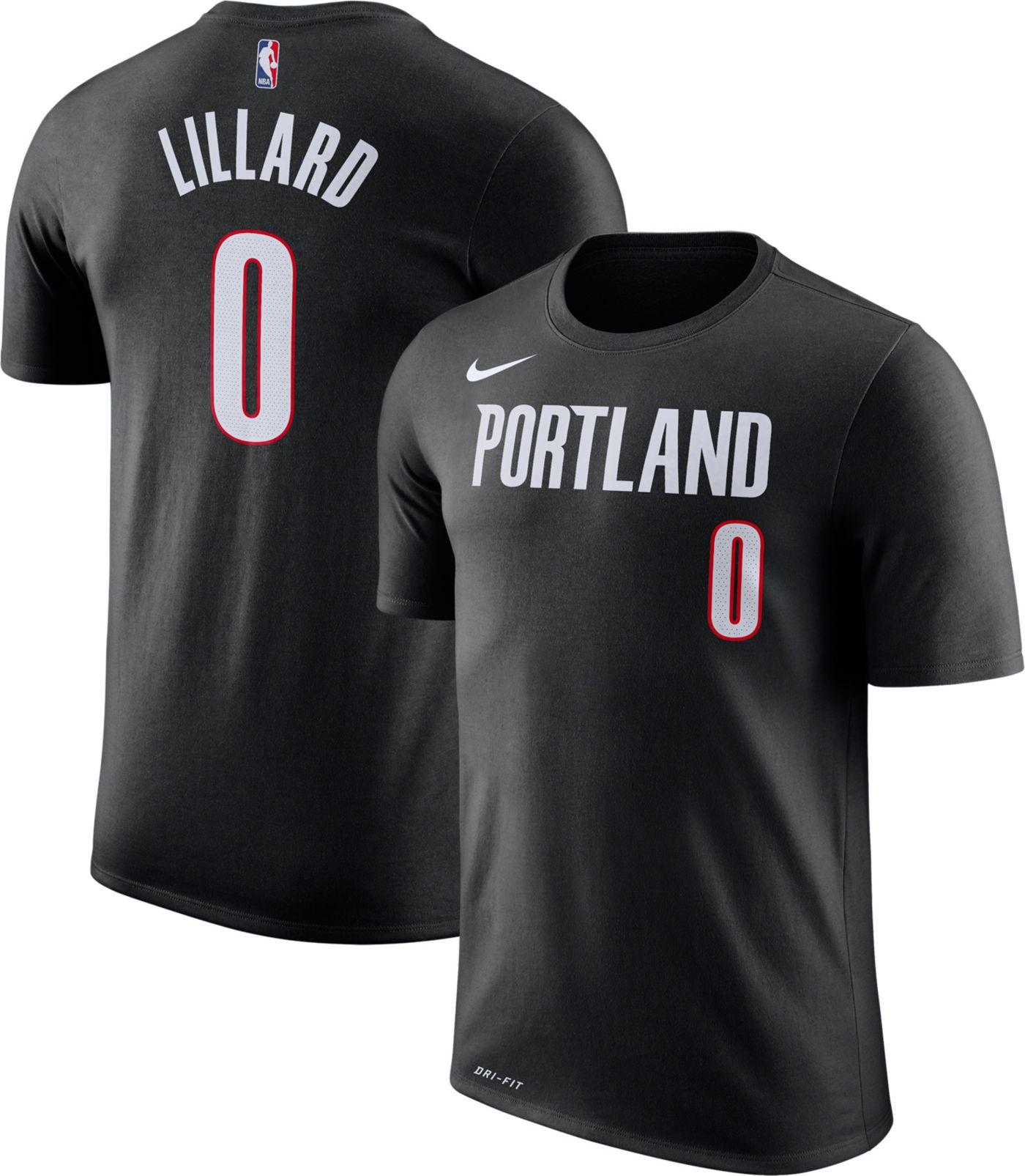 Nike Youth Portland Trail Blazers Damian Lillard #0 Dri-FIT Black T-Shirt