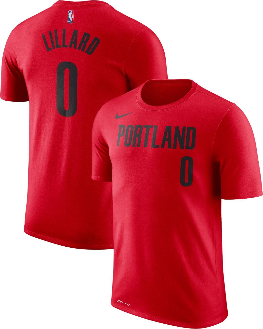 low priced 63690 3c6c6 Nike Youth Portland Trail Blazers Damian Lillard #0 Dri-FIT Red T-Shirt