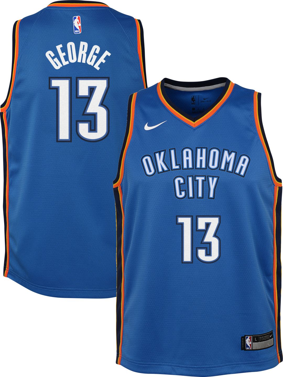 official photos 2be12 d7636 Nike Youth Oklahoma City Thunder Paul George #13 Blue Dri-FIT Swingman  Jersey