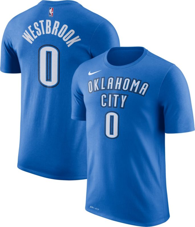 half off 74567 e6d62 Nike Youth Oklahoma City Thunder Russell Westbrook #0 Dri-FIT Blue T-Shirt