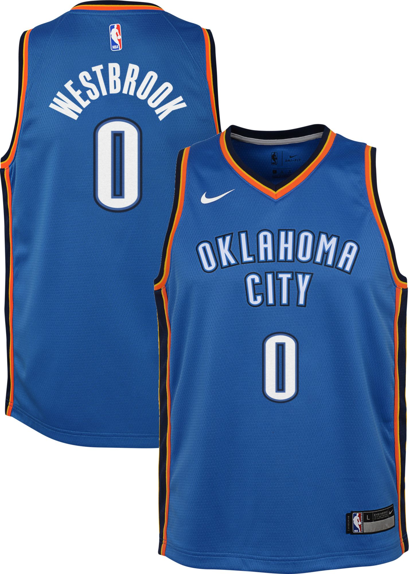 Nike Youth Oklahoma City Thunder Russell Westbrook #0 Blue Dri-FIT ...
