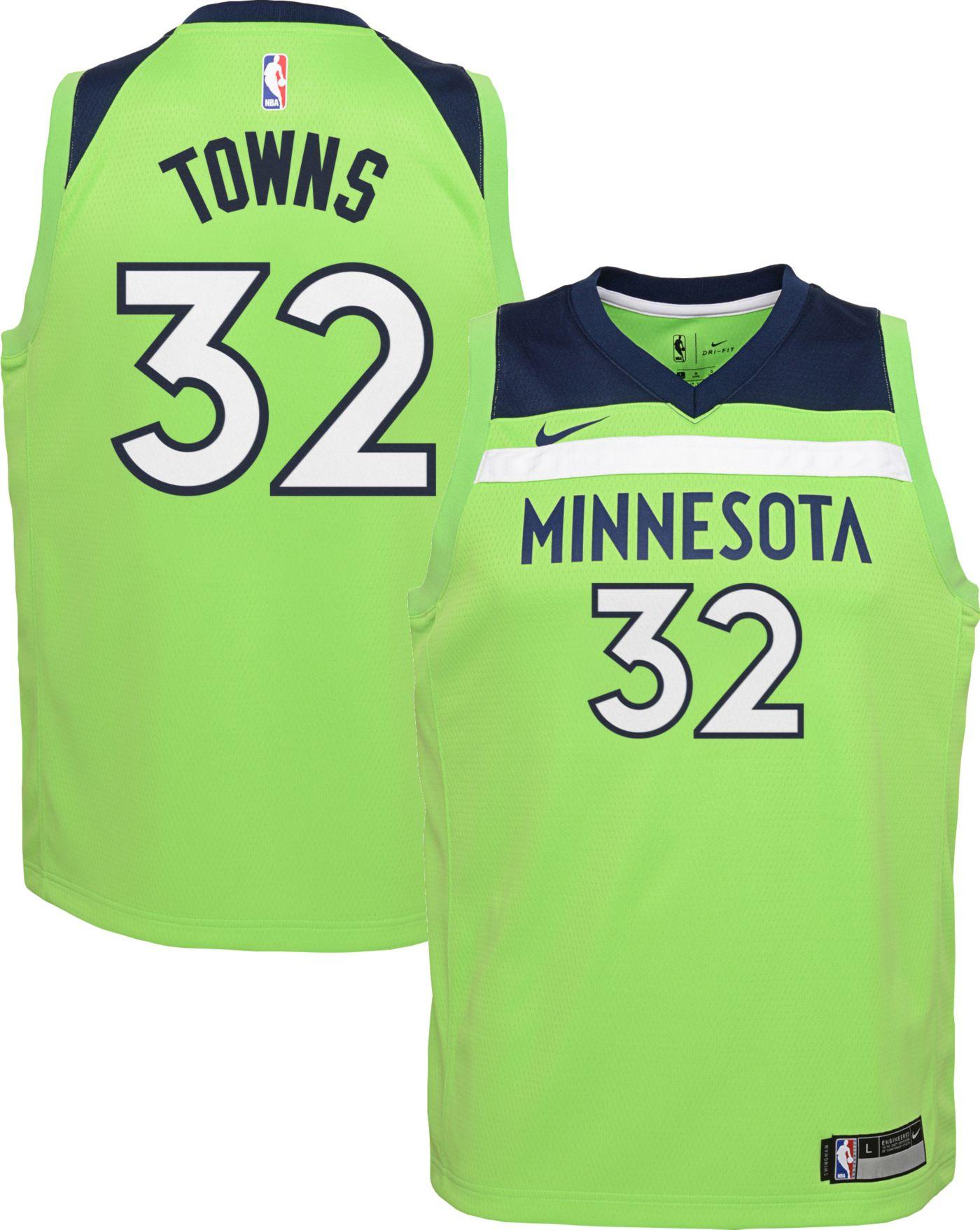 Nike Youth Minnesota Timberwolves Karl-Anthony Towns #32 Green Dri-FIT Statement Swingman Jersey