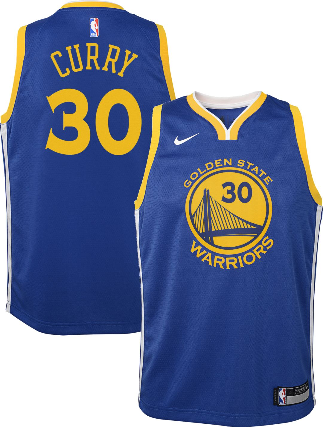0cf75b6e3e2 Nike Youth Golden State Warriors Stephen Curry #30 Royal Dri-FIT Swingman  Jersey 1