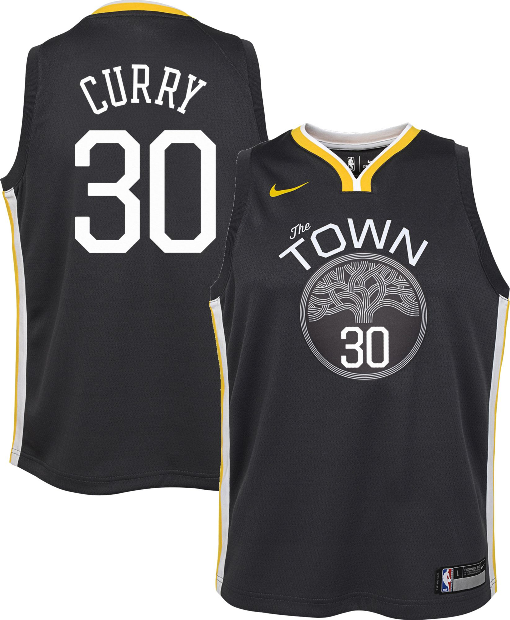 c62e6274a2ea Nike Youth Golden State Warriors Stephen Curry #30 Grey Dri-FIT Swingman  Jersey