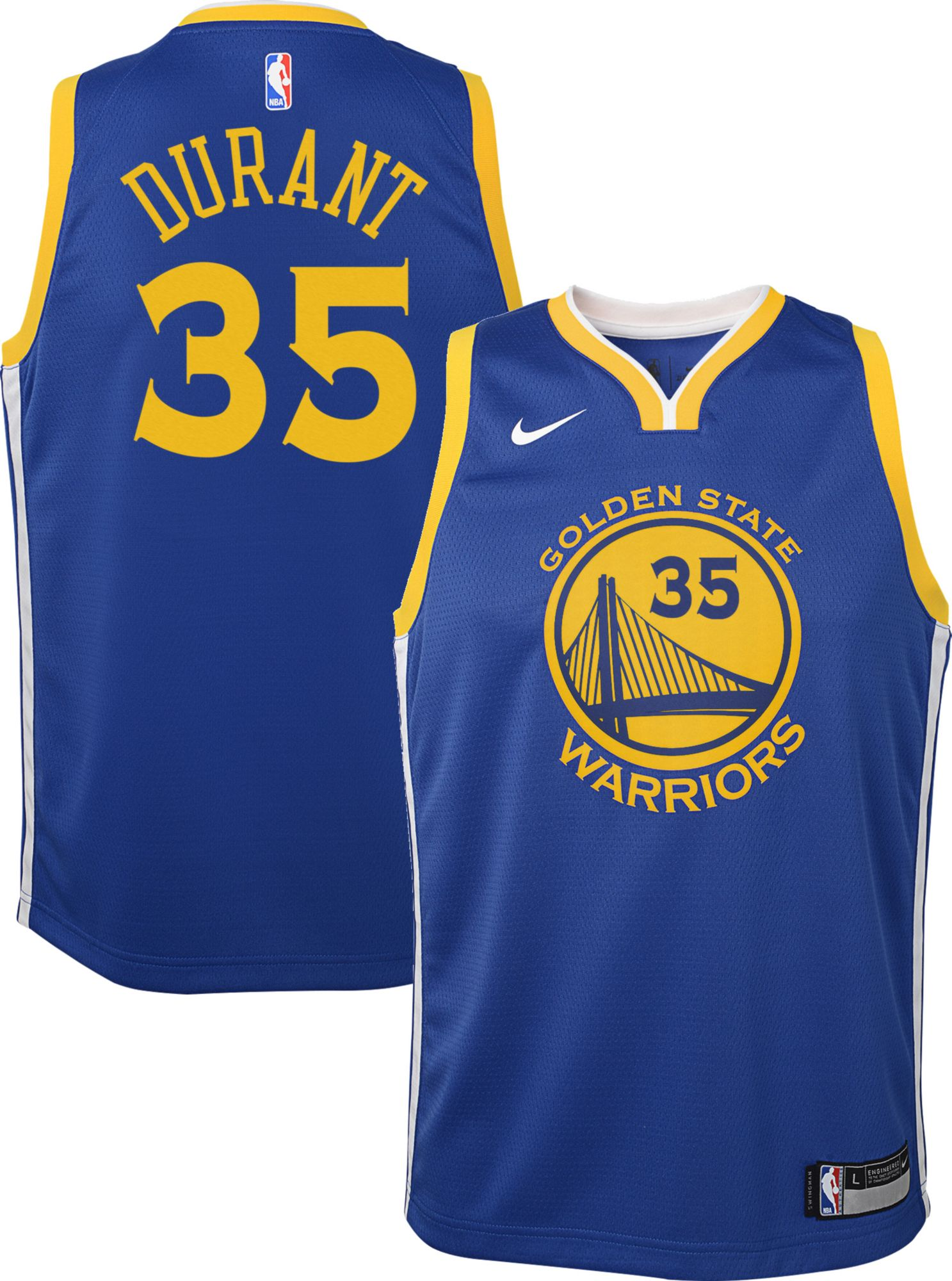 Nike Youth Golden State Warriors Kevin Durant #35 Royal Dri-FIT ...