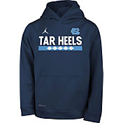 Jordan Youth North Carolina Tar Heels Navy Football Sideline Pullover Therma-FIT Hoodie