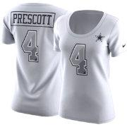 d0b92898a Nike Women's Dallas Cowboys Dak Prescott #4 Prism Player White T-Shirt