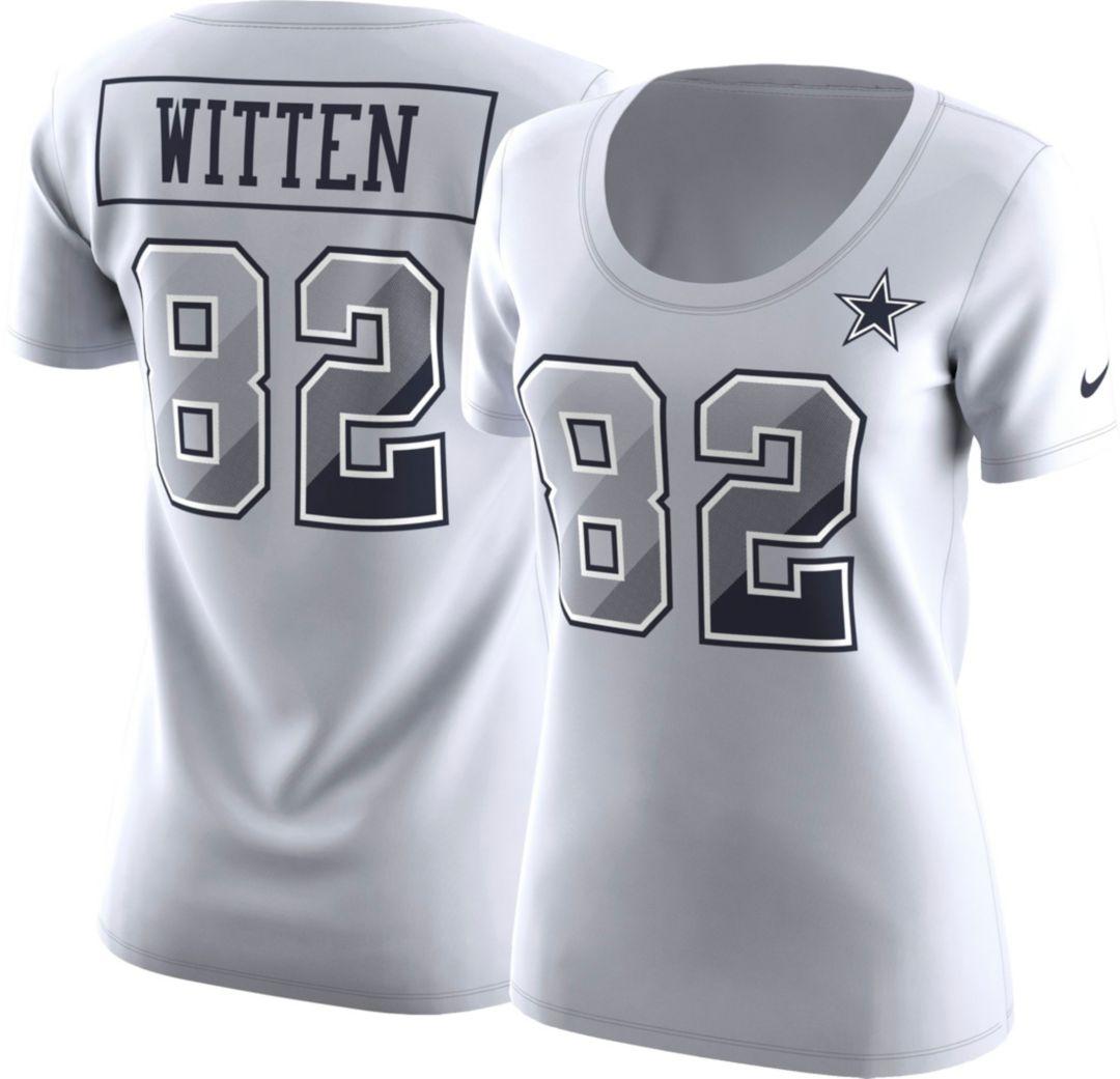 buy online a3828 da34e Nike Women's Dallas Cowboys Jason Witten #82 Prism Player White T-Shirt