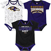 NFL Team Apparel Infant Baltimore Ravens Playmaker 3-Piece Onesie Set
