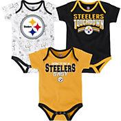 NFL Team Apparel Infant Pittsburgh Steelers Playmaker 3-Piece Onesie Set