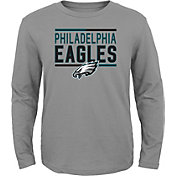 NFL Team Apparel Youth Philadelphia Eagles Flag Runner Grey Long Sleeve Shirt