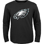 NFL Team Apparel Youth Philadelphia Eagles Logo Black Long Sleeve Shirt