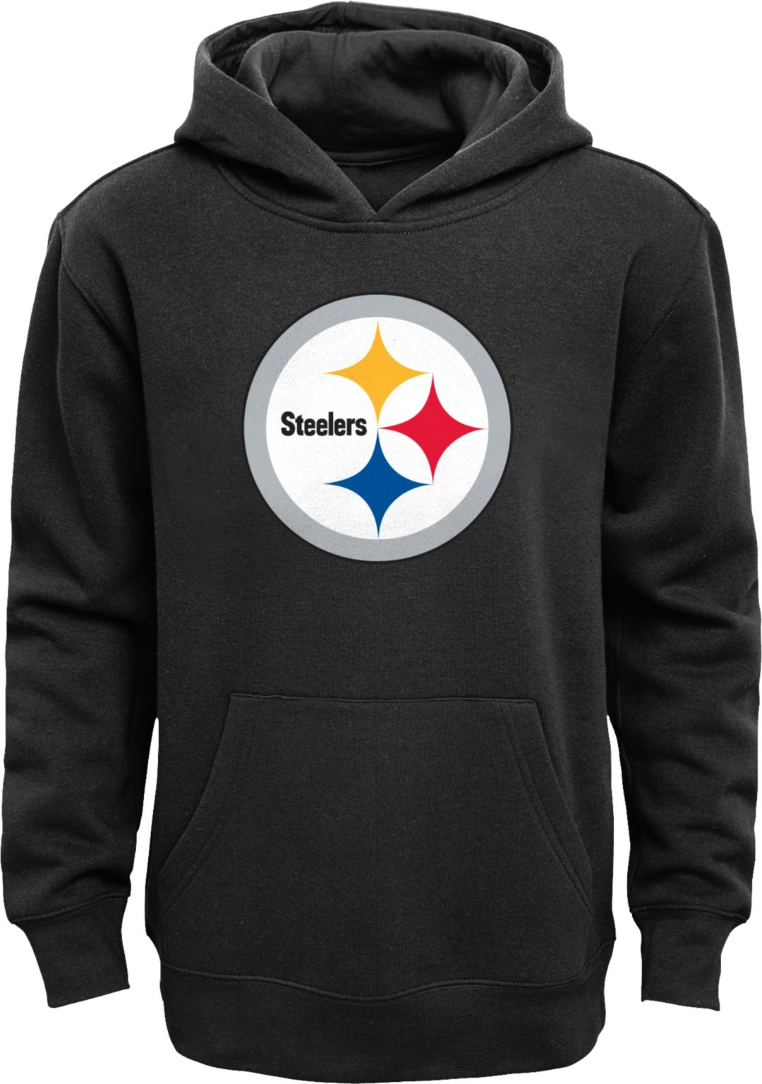 reputable site e3b54 1b9d5 NFL Team Apparel Youth Pittsburgh Steelers Logo Black Hoodie