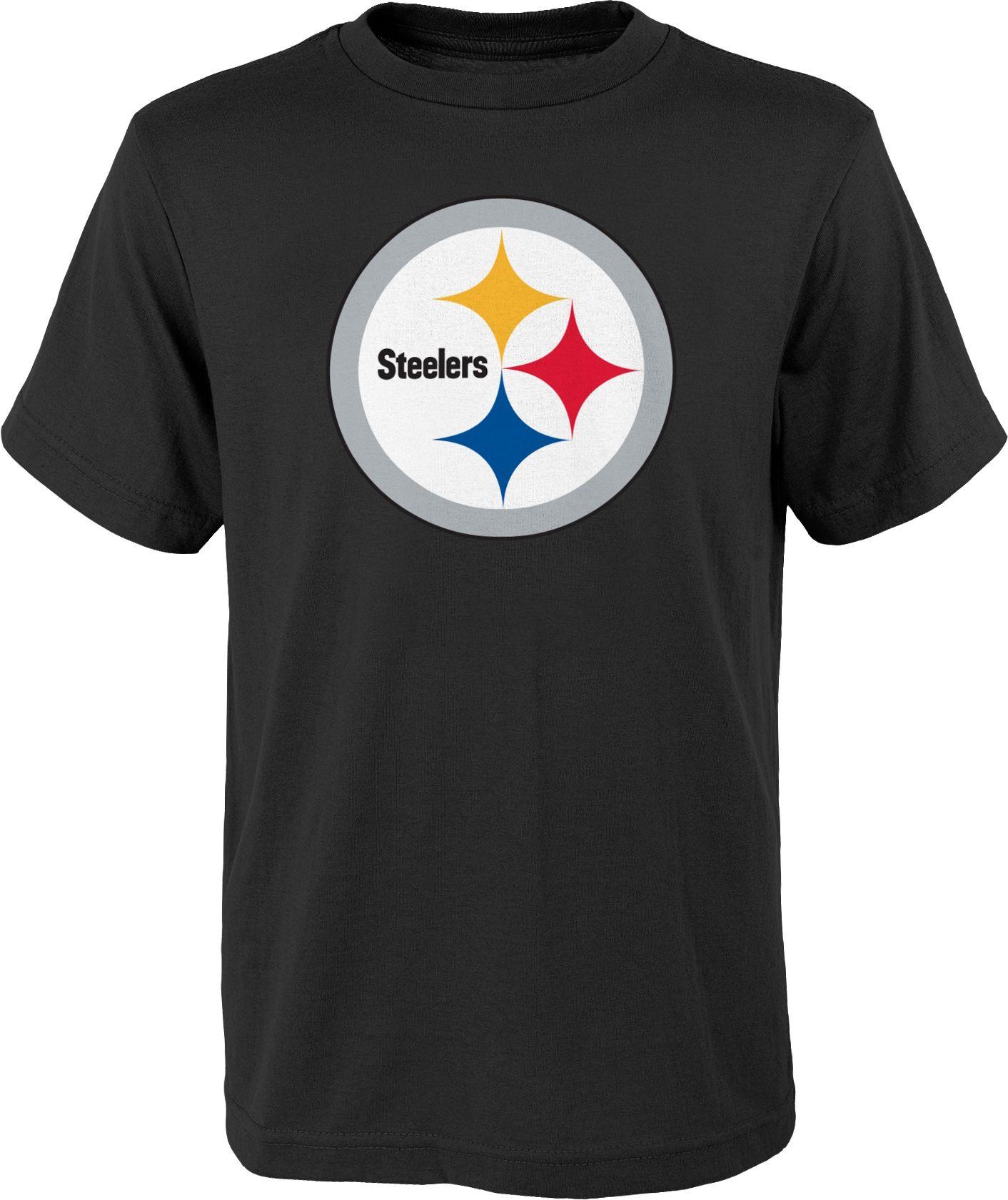 Nfl Team Apparel Youth Pittsburgh Steelers Logo Black T Shirt