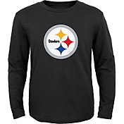 NFL Team Apparel Youth Pittsburgh Steelers Logo Black Long Sleeve Shirt