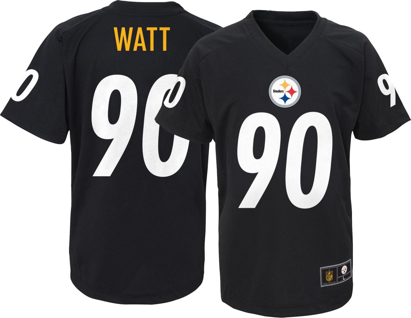 NFL Team Apparel Youth Pittsburgh Steelers T.J. Watt #90 Performance Black T-Shirt