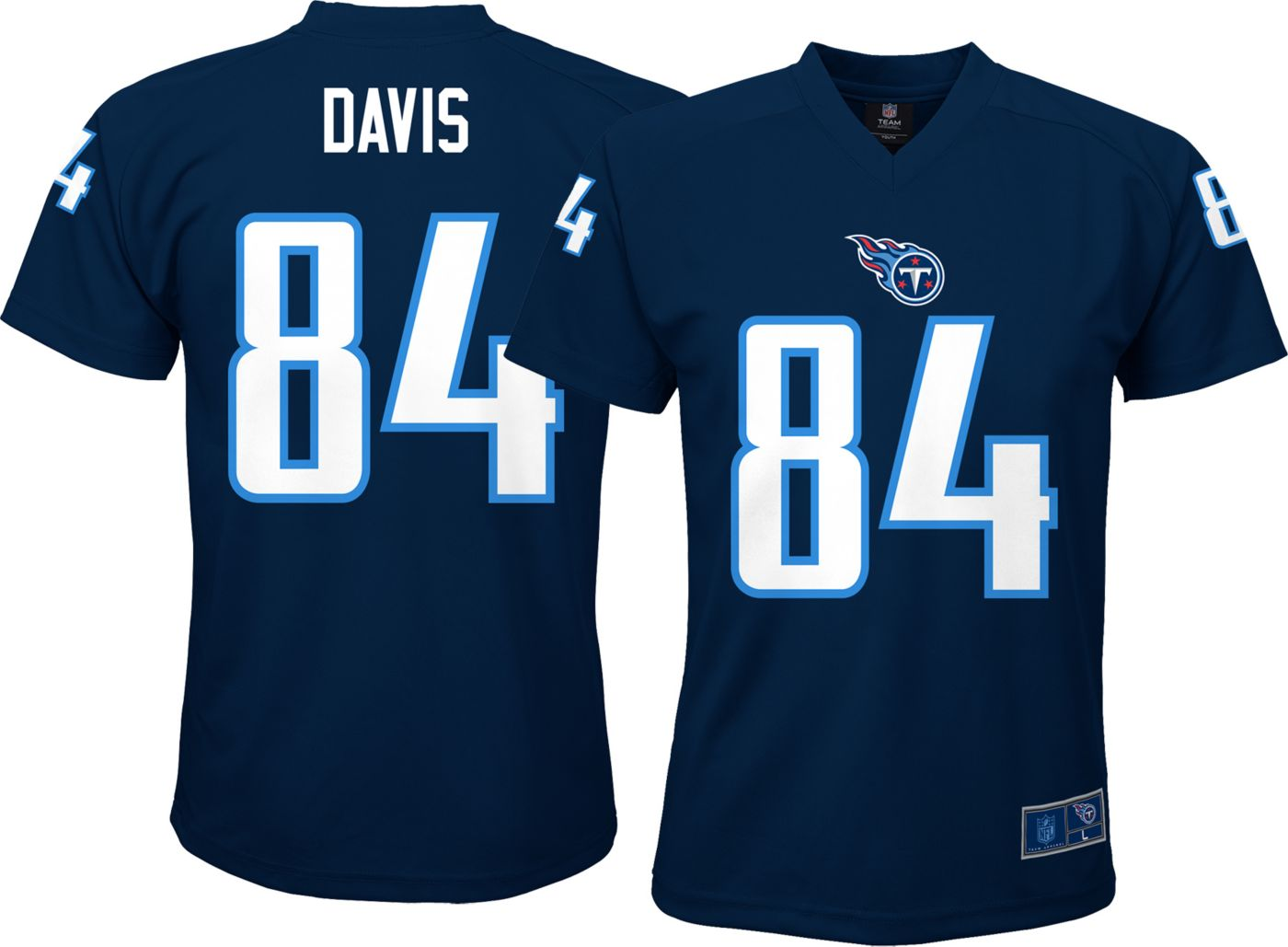 NFL Team Apparel Youth Tennessee Titans Corey Davis #84 Performance Navy T-Shirt