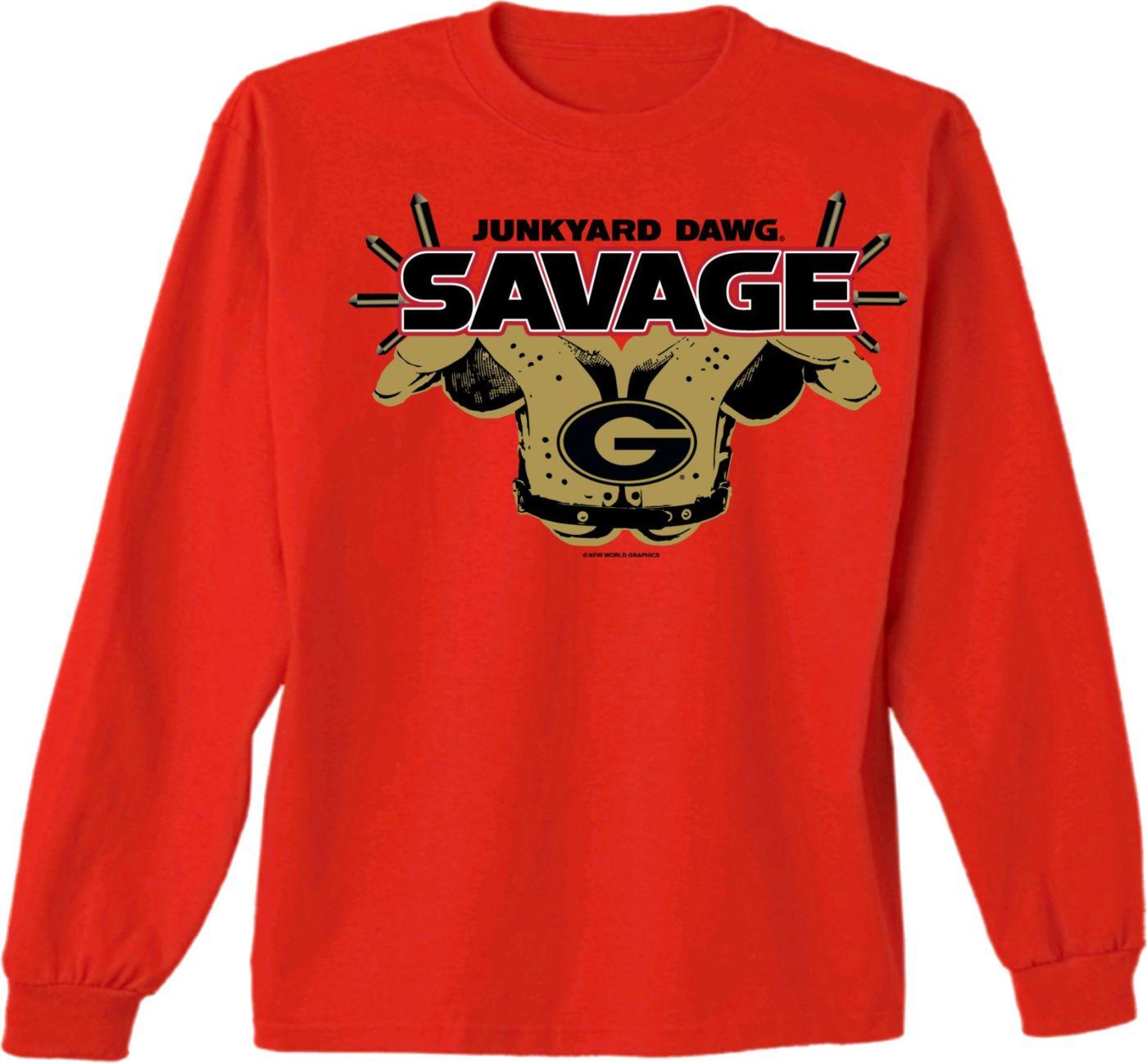 New World Graphics Men's Georgia Bulldogs Red Savage Long Sleeve T-Shirt