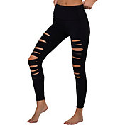 Onzie Women's Black High Rise Shred Midi Leggings