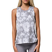 Onzie Women's Grey Tie Dye Print Twist Back T-Shirt