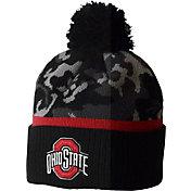 OSU Men's Ohio State Buckeyes Black Camo Pom Knit 2 Cuffed Knit Beanie