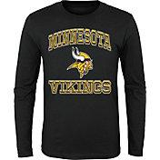 '47 Youth Minnesota Vikings Gridiron Hero Black Long Sleeve Shirt