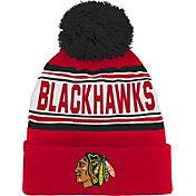 NHL Youth Chicago Blackhawks Red Pom Knit Beanie