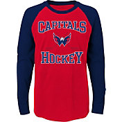 NHL Youth Washington Capitals Morning Skate Red/Navy Raglan Long Sleeve Shirt