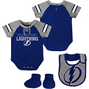 NHL Infant Tampa Bay Lightning Little D-Man Royal/Grey Onesie Set