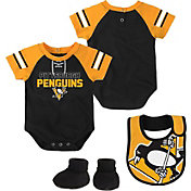 NHL Infant Pittsburgh Penguins Little D-Man Black/Gold Onesie Set
