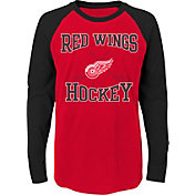NHL Youth Detroit Red Wings Morning Skate Red/Black Raglan Long Sleeve Shirt