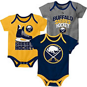 NHL Infant Buffalo Sabres Power Play Onesie Navy/Gold/Grey 3-Pack