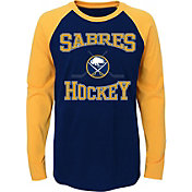 NHL Youth Buffalo Sabres Morning Skate Navy/Gold Raglan Long Sleeve Shirt