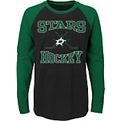 NHL Youth Dallas Stars Morning Skate Black/Green Raglan Long Sleeve Shirt
