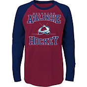 NHL Youth Colorado Avalanche Morning Skate Burgundy/Navy Raglan Long Sleeve Shirt