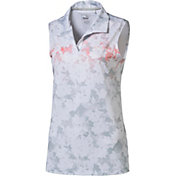 PUMA Women's Floral Sleeveless Golf Polo