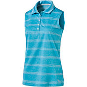 PUMA Women's Pounce Stripe Sleeveless Golf Polo